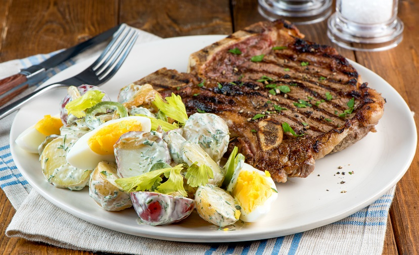 T Bone Steak And Summer Potato Salad Eggs Ca