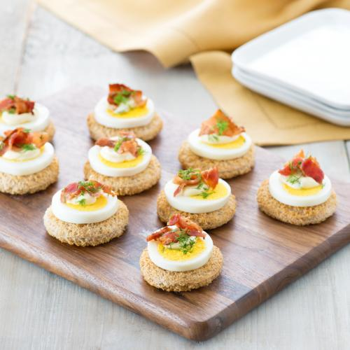 Recipes egg and bacon canap s for How to make a canape