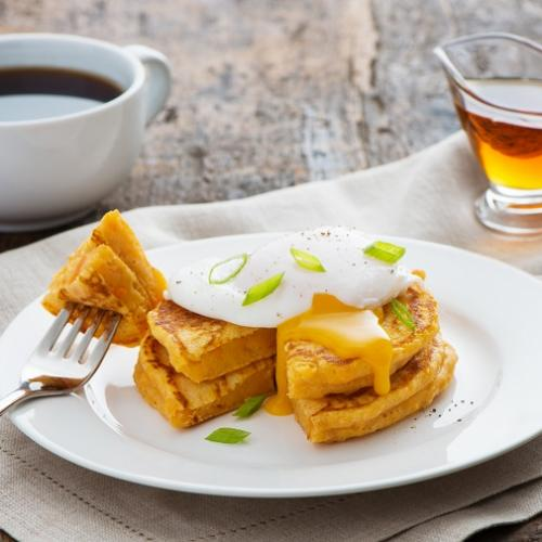 Recipes - Sweet Potato Pancakes with Poached Eggs » Eggs.ca