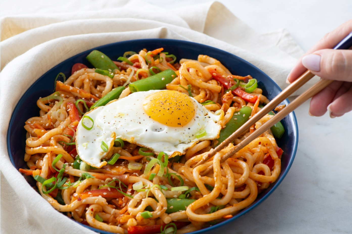 Kimchi Udon Stir-Fry with Fried Eggs | Get Cracking